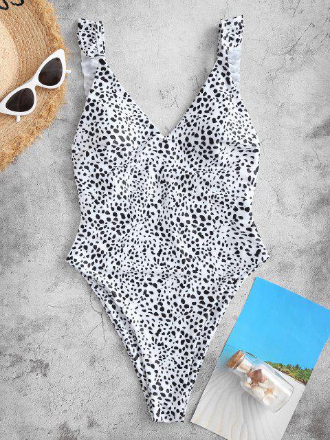 Costume Intero di ZAFUL Asimmetrico con Stampa Cuore e Leopardo - Bianca S Mobile