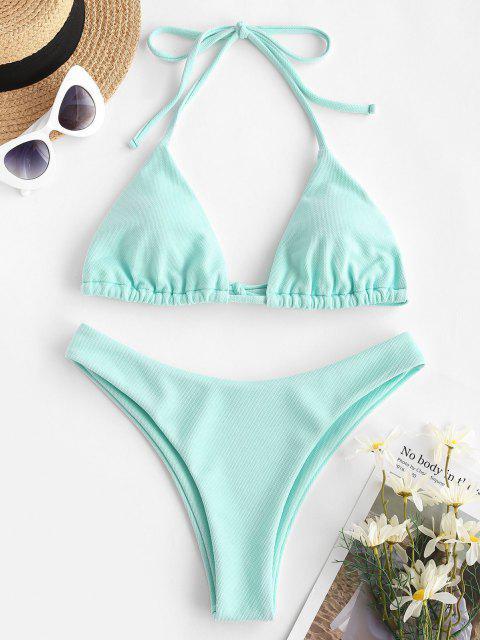 women ZAFUL Textured Halter Bikini Swimwear - LIGHT BLUE S Mobile