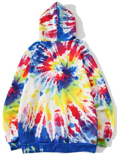 hot Funny Cartoon Pattern Tie Dye Hoodie - BRIGHT YELLOW 2XL Mobile