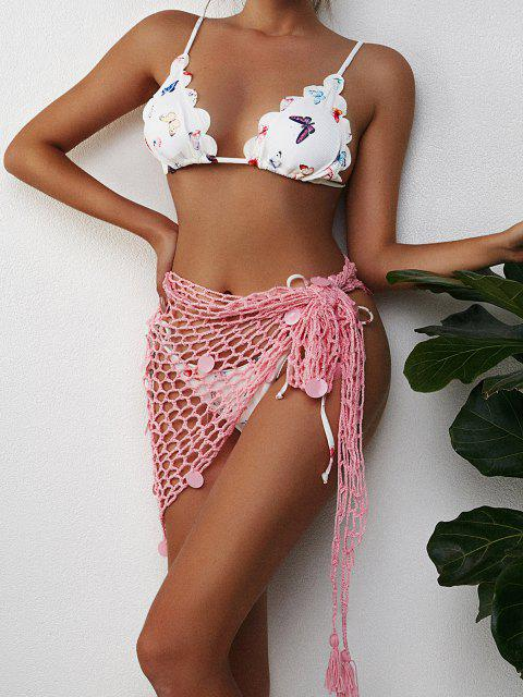 latest Sequin Versatile Crochet Tassel Sarong - LIGHT PINK ONE SIZE Mobile