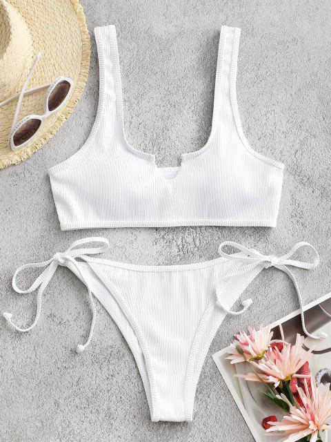 buy ZAFUL Textured Ribbed V Notch Tie Tanga Bikini Swimwear - WHITE S Mobile