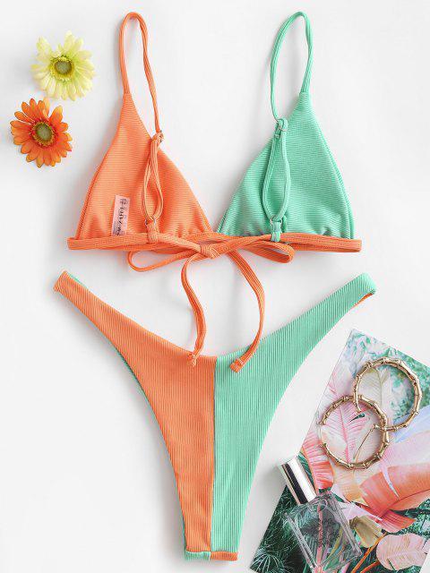 ZAFUL Maillot de Bain Bikini Côtelé Bicolore à Coupe Haute - Orange S Mobile