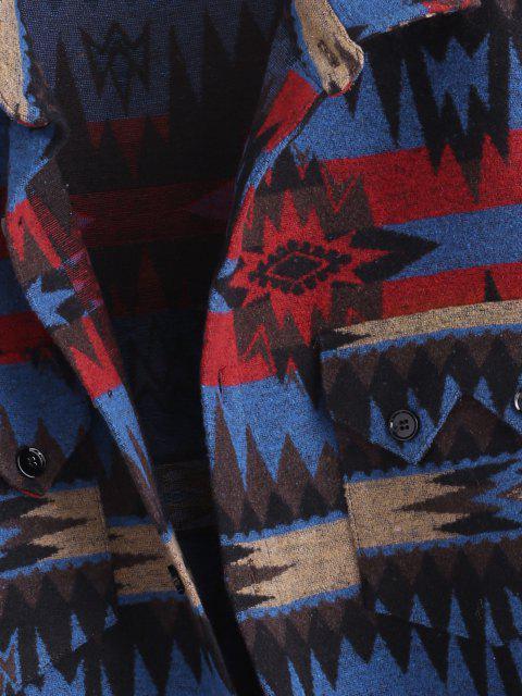 unique Ethnic Tribal Pattern Pocket Button Up Jacket - BLUE XL Mobile