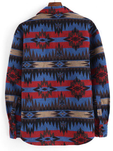 Veste Ethnique Motif Tribal Boutonnée avec Poche - Bleu S Mobile