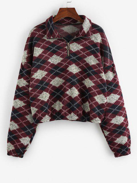 ZAFUL Ethnic Elephant Geo Print Drop Shoulder Quarter Zip Sweatshirt - متعددة D XL Mobile