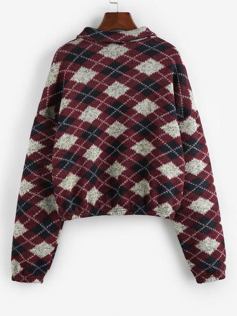 ZAFUL Ethnic Elephant Geo Print Drop Shoulder Quarter Zip Sweatshirt - متعددة D S Mobile