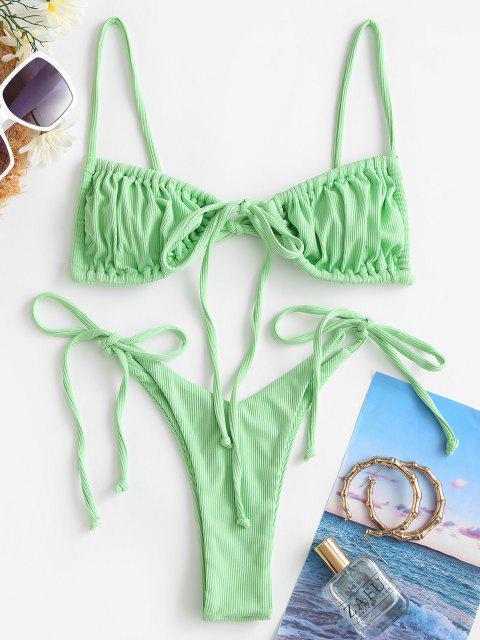 ZAFUL Bikini de Tie-dye con Cordones - Verde Alga S Mobile