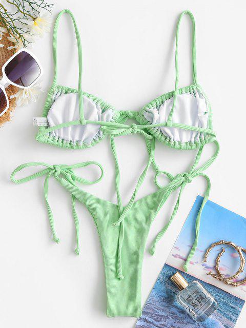 ZAFUL Bikini de Tie-dye con Cordones - Verde Alga M Mobile