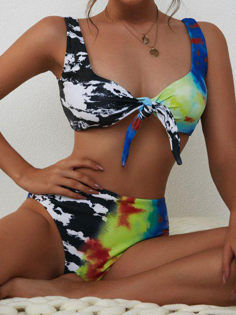 unique ZAFUL Tie-dye High Waisted Bikini Swimwear - BLACK L Mobile