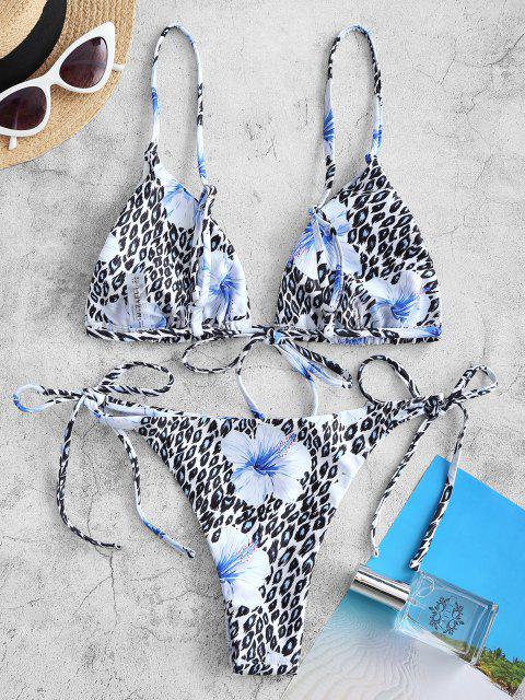 ladies ZAFUL Floral Mix Leopard Tie String Bikini Swimwear - DAY SKY BLUE S Mobile
