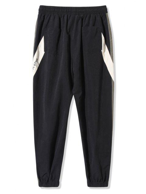Pantalones Rayados Estampado Letras de Bloqueo de Color - Negro 2XL Mobile