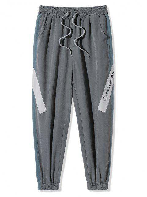 new Letter Pattern Colorblock Beam Feet Pants - GRAY XL Mobile