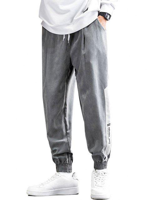 Pantalones de Estampado de Letras con Bloqueo de Color en Panel - Gris 3XL Mobile
