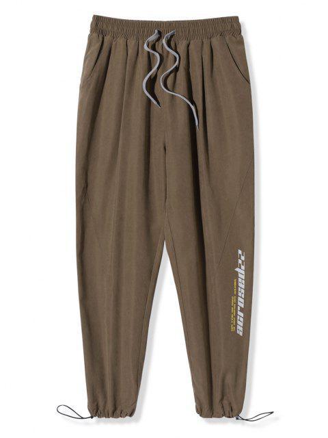 Pantalones Cintura Elástica Estampado Letras - Caqui Oscuro 4XL Mobile