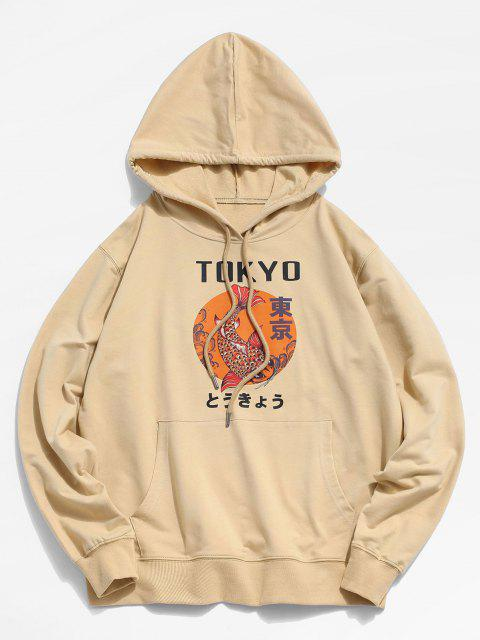 trendy Tokyo Carp Print Kangaroo Pocket Hoodie - LIGHT YELLOW 2XL Mobile