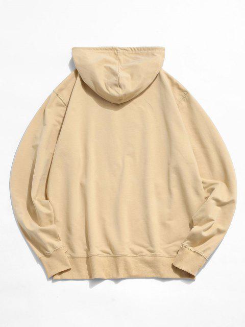 shop Tokyo Carp Print Kangaroo Pocket Hoodie - LIGHT YELLOW S Mobile