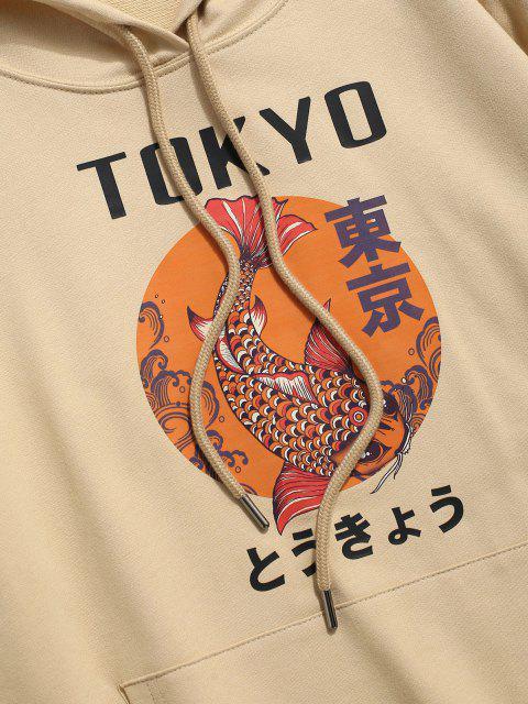 latest Tokyo Carp Print Kangaroo Pocket Hoodie - LIGHT YELLOW L Mobile