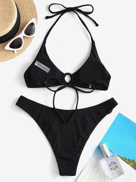 affordable ZAFUL Ribbed O Ring Cheeky Bikini Swimwear - BLACK S Mobile