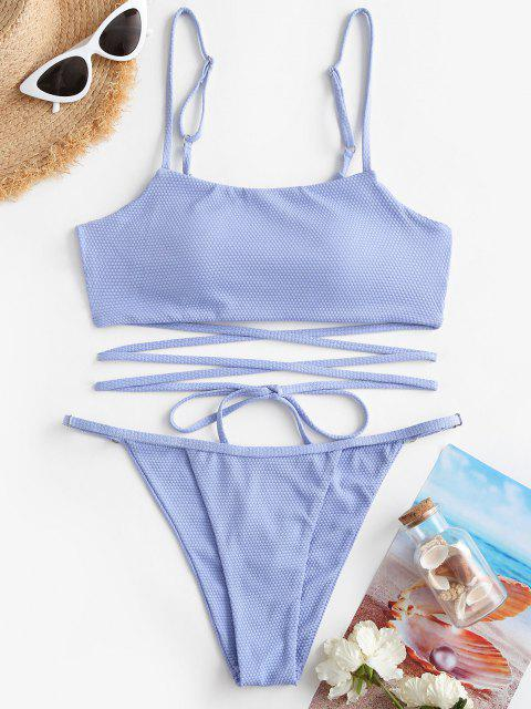 outfits ZAFUL Textured Strappy Wrap-tie Floss Bikini Swimwear - LIGHT BLUE S Mobile