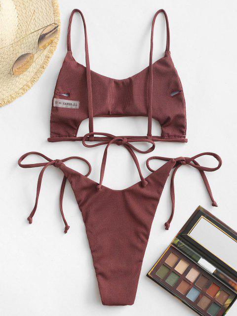 women ZAFUL Ribbed Underboob Tie Side Thong Bikini Swimwear - DEEP RED S Mobile