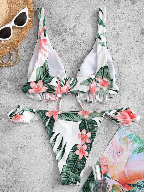 Costume da Bagno Bikini Stampato a Fiori e Foglie con Scollo Profondo di ZAFUL - Bianca S Mobile