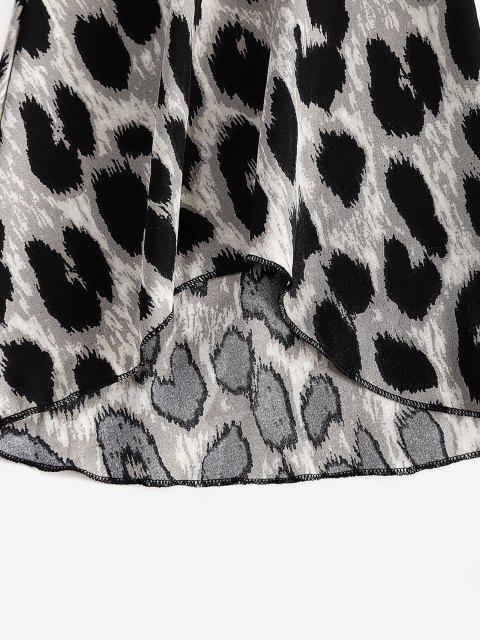Blusa de Leopardo con Hombro Descubierto con Mangas Acampanidas - Negro XL Mobile