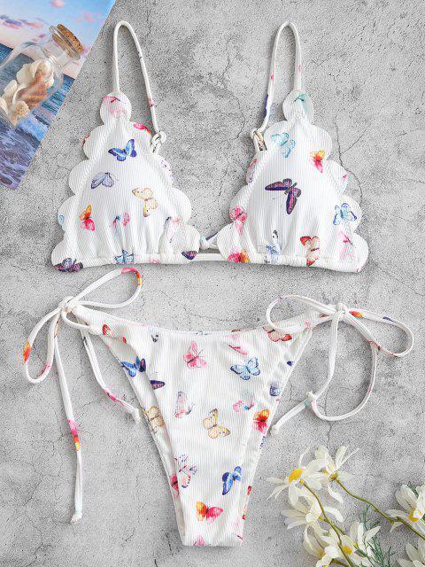 ZAFUL Maillot de Bain Bikini Festonné Papillon Imprimé Noué à Côté - Blanc L Mobile