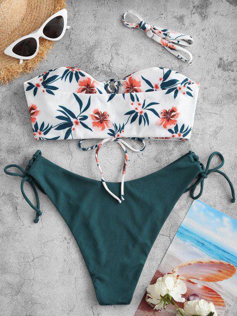 hot ZAFUL Floral Print Ribbed Lace Up Bikini Swimwear - DEEP GREEN M Mobile