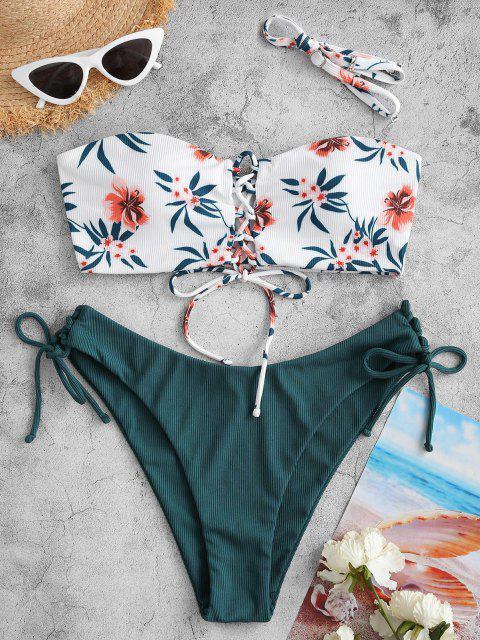 ZAFUL Bikini Badebekleidung mit Gerippten Schnürung und Blumendruck - Dunkelgrün L Mobile
