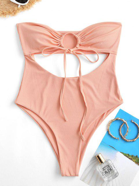 chic ZAFUL Drawstring Tie Ribbed Cut Out Strapless Swimsuit - LIGHT ORANGE S Mobile