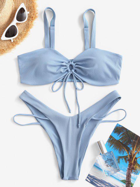 Costume da Bagno Bikini Annodato a Costine con Taglio Alto di ZAFUL - Azzurro S Mobile