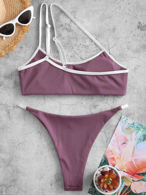shop ZAFUL Ribbed One Shoulder Tanga Bikini Swimwear - CONCORD L Mobile