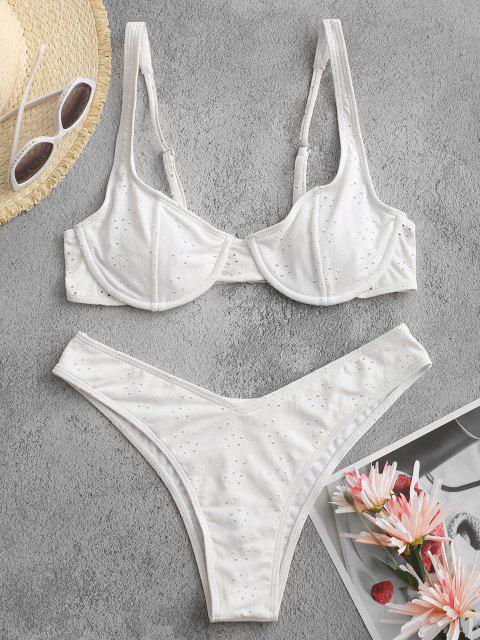 Jessica Stockstill X ZAFUL Lochstickerei Under Brasilianische Bikini-Badebekleidung - Weiß S Mobile