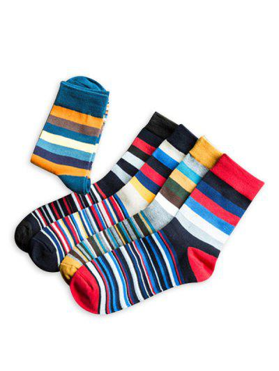 5 Pairs Colorblock Stripes Short Socks Set - Multi-a
