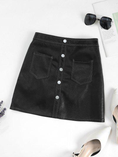 Pockets Mock Button PU Leather Mini Skirt - Black L