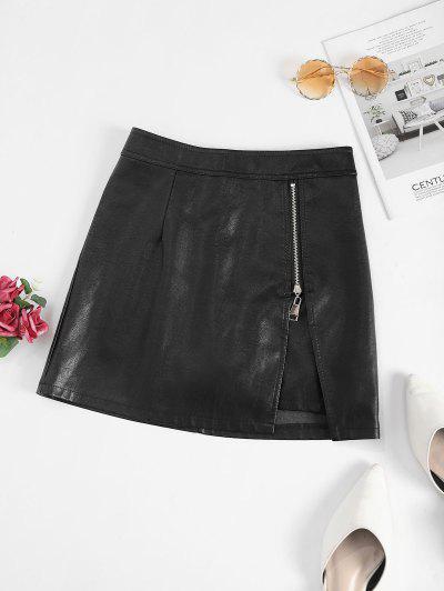 Reißverschluss Eingekerbtes PU Leder Minirock - Schwarz L