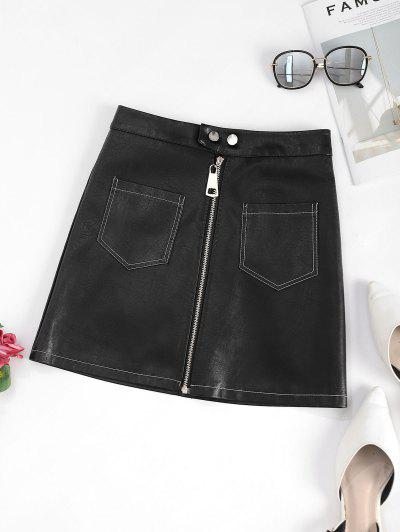 Zip Up Front Pockets PU Leather Skirt - Black L
