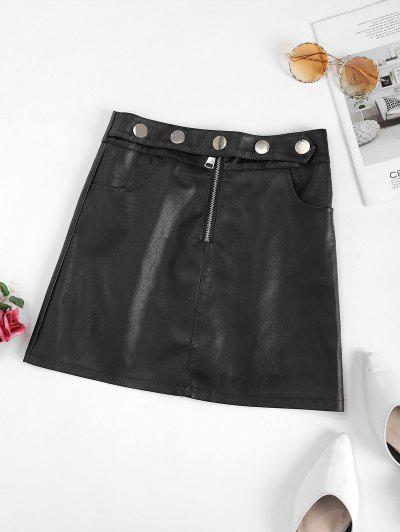 Studded Half Zip PU Leather Mini Skirt - Black M