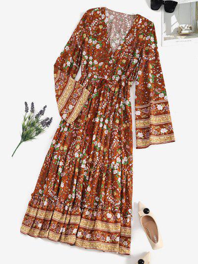 Drawstring Waist Floral Tassels Bohemian Dress - Coffee L