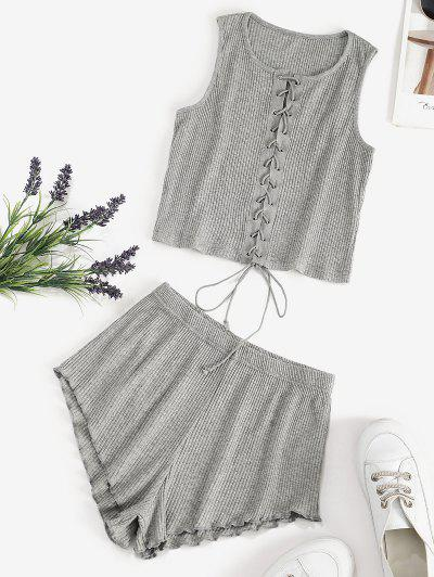 Sleep Ribbed Lace Up Two Piece Set - Gray L