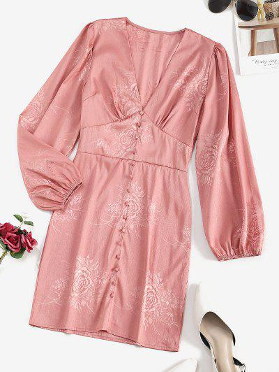 Buttoned Front Floral Jacquard Long Sleeve Dress - Light Pink M