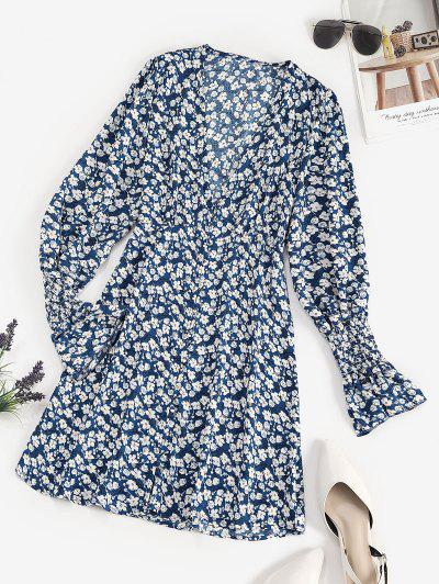 Tiny Floral Button Loop Empire Waist Mini Dress - Blue M