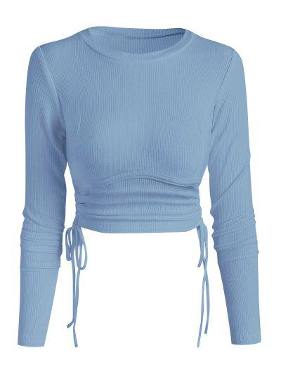 Ribbed Side Cinched Crop Top - Light Blue L