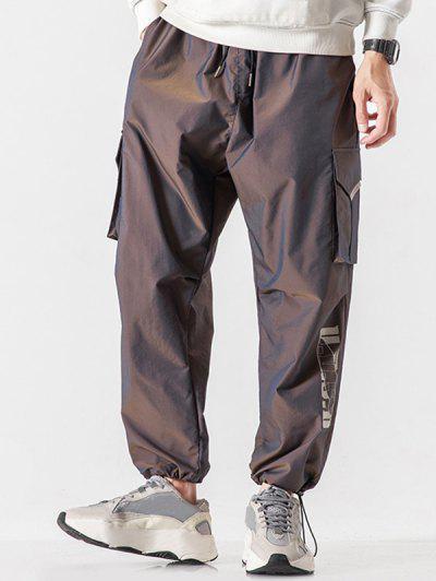 Reflektierende Buchstabedruck Elastische Taille Hose - Tiefes Braun L