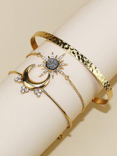 3Pcs Moon Sun Shape Bracelet Set - Golden
