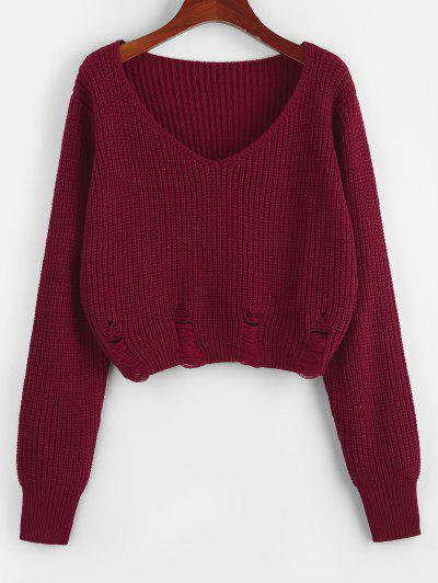 ZAFUL V Neck Ripped Crop Sweater - Deep Red M