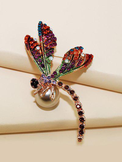 Dragonfly Faux Pearl Rhinestone Brooch - Golden