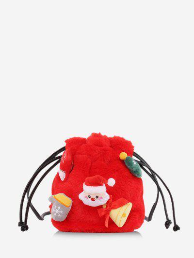 Santa Claus Plush Drawstring Bucket Bag - Red