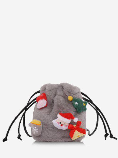 Santa Claus Plush Drawstring Bucket Bag - Gray