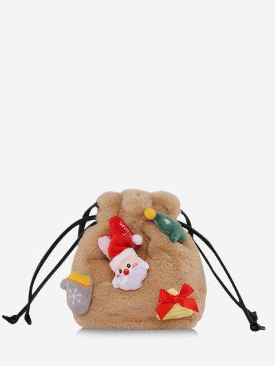 Santa Claus Plush Drawstring Bucket Bag - Camel Brown